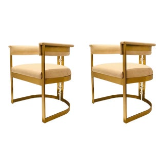 Modern Ivory Leather and Brass Finished Accent Chairs - a Pair For Sale