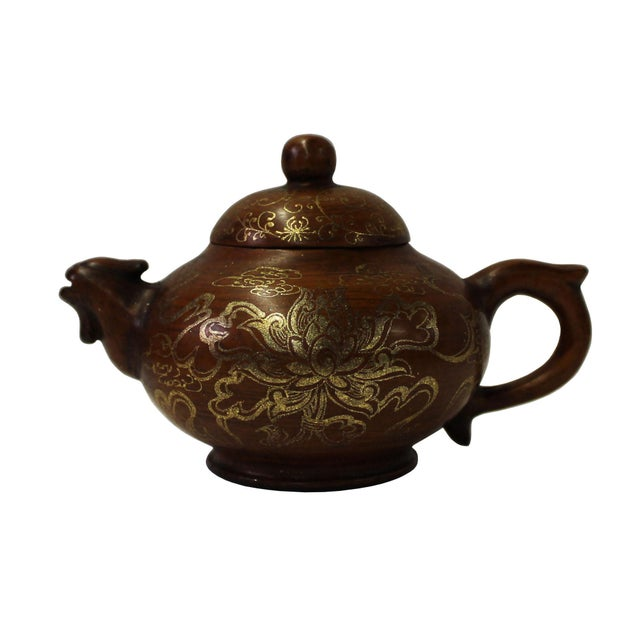 Brown Chinese Zisha Clay Brown Golden Scenery Teapot Display For Sale - Image 8 of 8