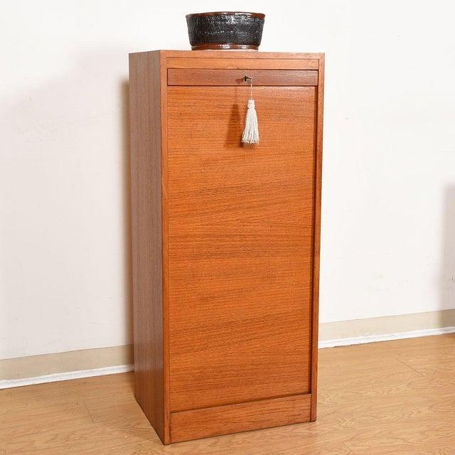 Mid 20th Century Danish Teak Locking Tambour Door Filing Cabinet For Sale - Image 5 of 9