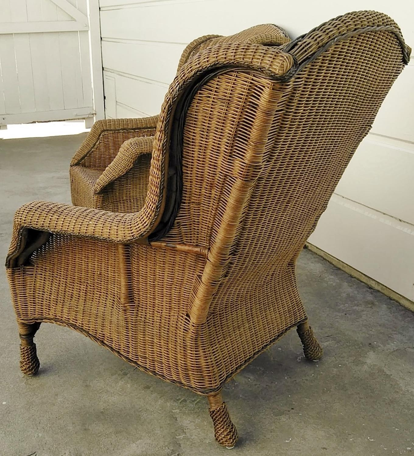 Merveilleux Campaign Pair Lg Vintage Ralph Lauren Wicker Chairs For Sale   Image 3 Of 9
