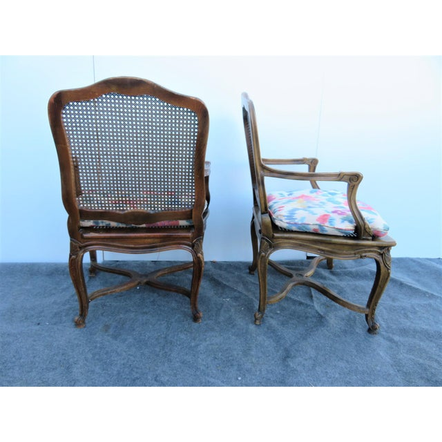Mid 20th Century Louis XV Oak Caned Open Arm Chairs - a Pair For Sale In Philadelphia - Image 6 of 7