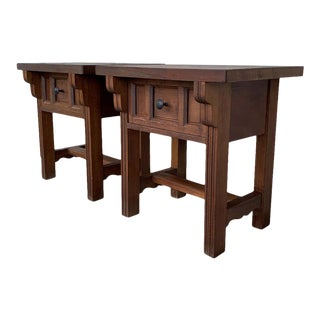20th Century Pair of Spanish Country, Rustic Nightstands With Drawer For Sale