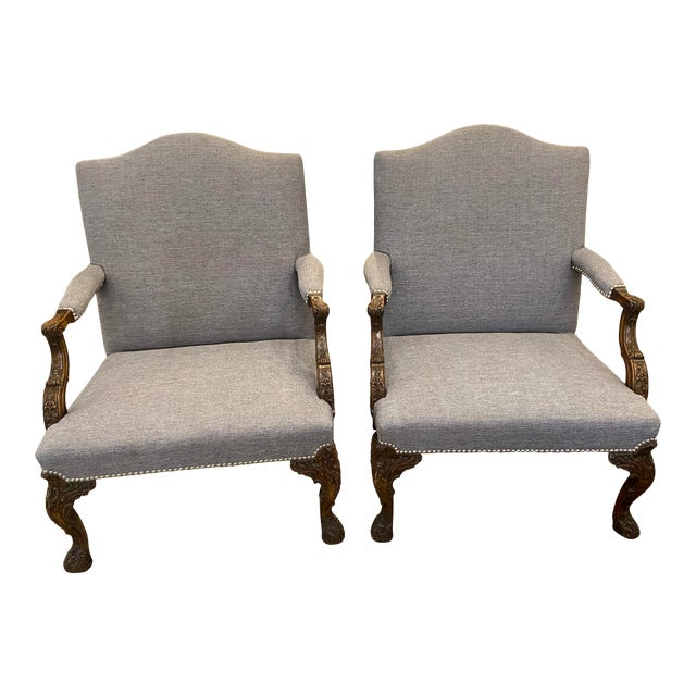 19th Century Mahogany Georgian Library Chairs - a Pair For Sale