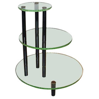 1950s Three-Tier Table in the Style of Fontana Arte For Sale