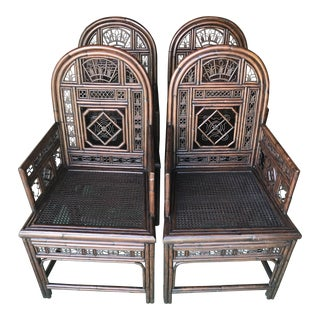 Vintage Fretwork Brighton Pavilion Style Arm Chairs-Four For Sale