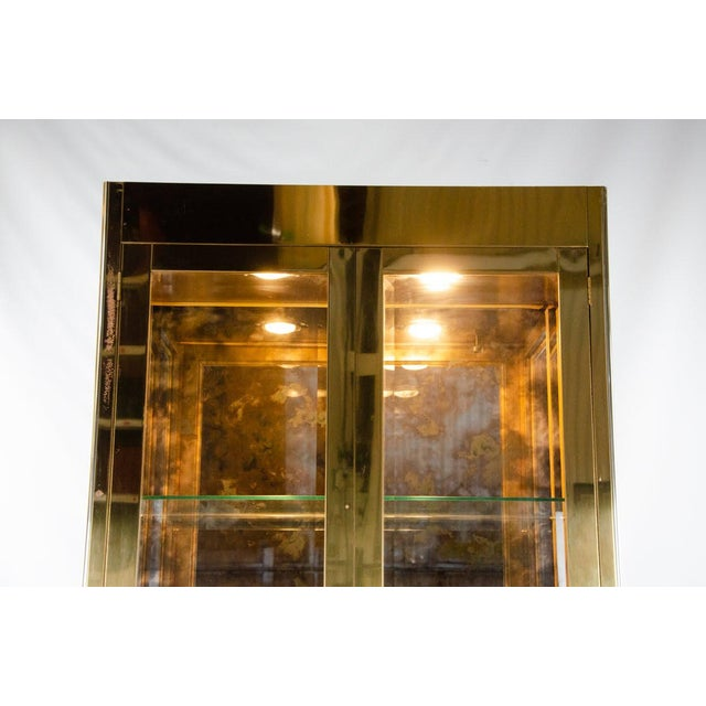 Metal 1960s Mastercraft Brass and Glass Lighted Display Cabinet For Sale - Image 7 of 13