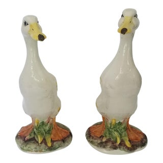 Meiseman Import Majolica Terra Cotta Geese Figurines - a Pair For Sale