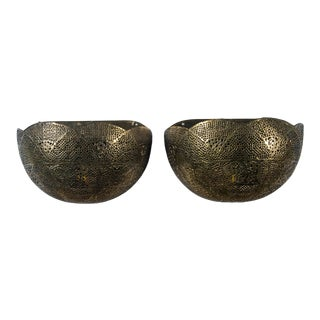 Vintage Pierced Brass Moroccan Style Wall Planters - a Pair For Sale