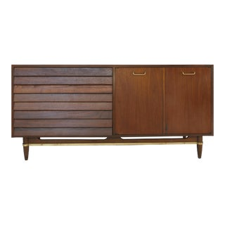 1960s Mid-Century Modern American of Martinsville Walnut & Brass Credenza For Sale