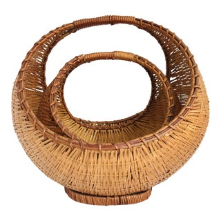 Vintage Nesting Woven Rattan Baskets Semicircle With Handles - a Pair