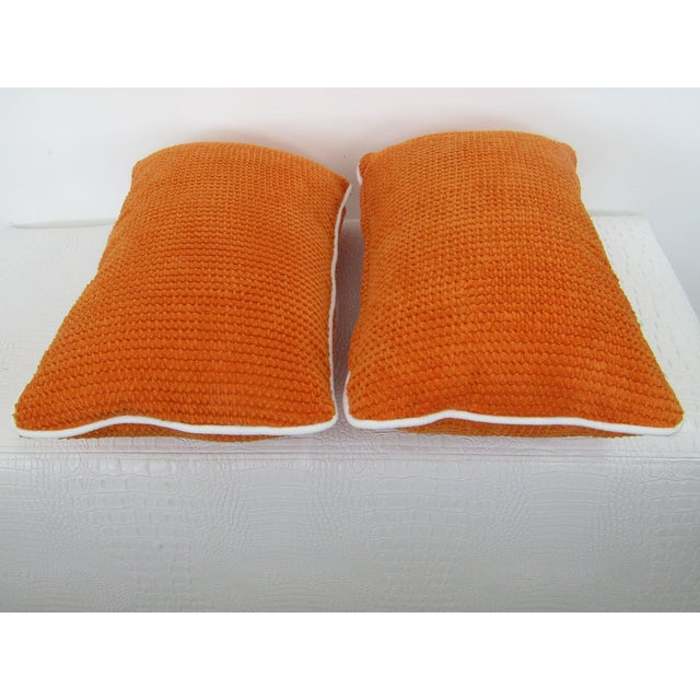 Transitional Orange Chenille Lumbar Pillows - A Pair For Sale - Image 3 of 6