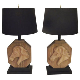 Heifetz Limed Oak Carved Horse Table Lamps - a Pair For Sale