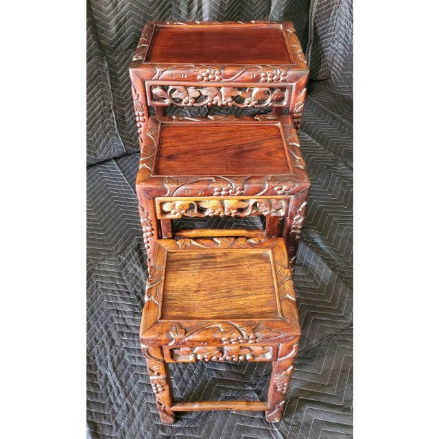 Antique Chinese Carved Nesting Tables - Set of 3 For Sale - Image 4 of 11