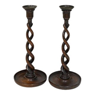 Tall Antique English Open Twist Candlesticks - A Pair
