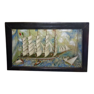 19th Century Antique 5-Masted Clipper Ship Diorama For Sale