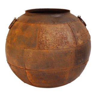 Round Aged Iron Pot For Sale