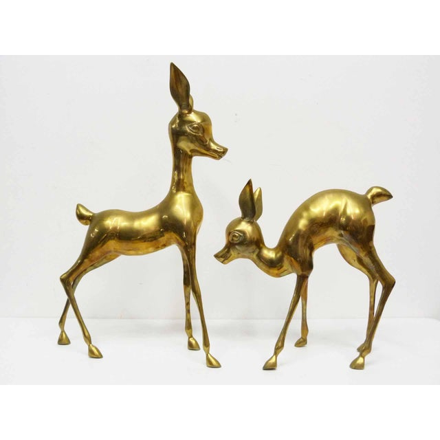 Lodge Vintage Brass Deer Floor Figures- Set of 2 For Sale - Image 3 of 7