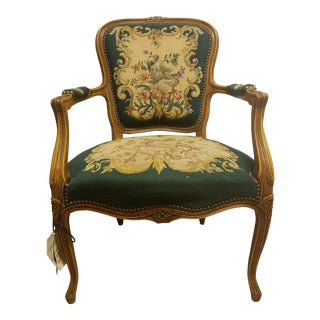 19th Century French Needle Point Arm Chair For Sale