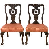 Image of Mid-19th Century Chippendale Style Carved Mahogany Side Chairs For Sale