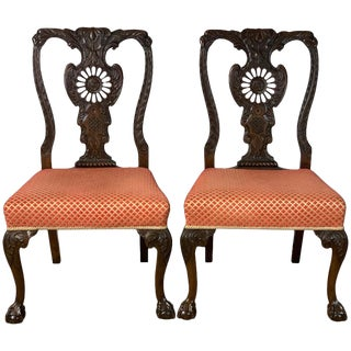 Mid-19th Century Chippendale Style Carved Mahogany Side Chairs For Sale