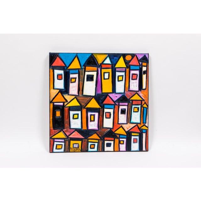 "Abstract Rahmon Olugunna ""Village at Night"" For Sale - Image 3 of 3"