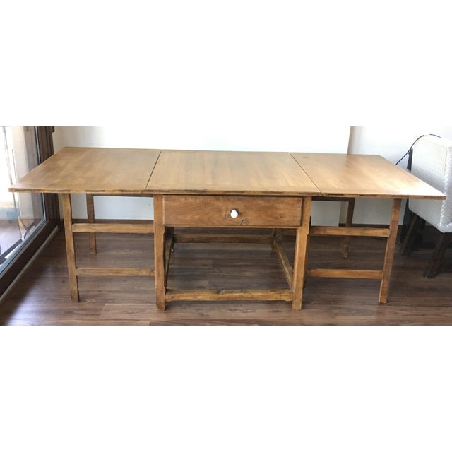 White Spanish, 18th Century Drop-Leaf Table with Four Gate-Leg and Three Drawers For Sale - Image 8 of 9