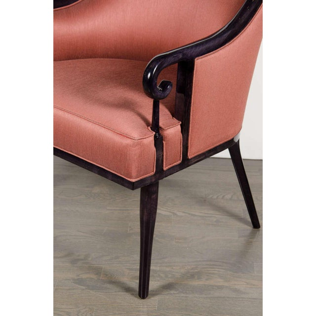 Mid-Century Modern Ultra Chic Pair of Mid-Century Scroll Arm Chairs with Spoon Back design For Sale - Image 3 of 7
