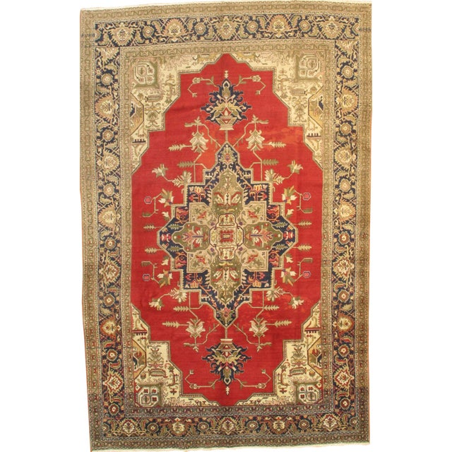 """Pasargad Ny Antique Persian Tabriz Wool Pile Rug - 6'6"""" X 10'3"""" For Sale"""