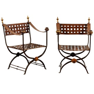 Pair of Italian Campaign Savonarola Chairs with Woven Leather Seats, circa 1960