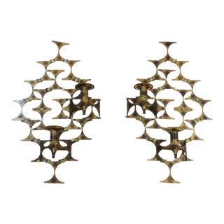 Mid-Century Modern Marc Weinstein Brutalist Brass Wall Sconces - A Pair For Sale