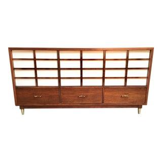 American of Martinsville Mid Century Walnut Nine-Drawer Dresser For Sale