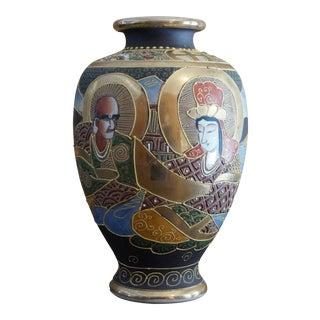 Japanese Satsuma Moriage Vase, Signed For Sale