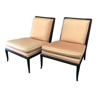 1960's Vintage T. H. Robsjohn-Gibbings for Widdicomb Ebonized Slipper Chairs- A Pair For Sale
