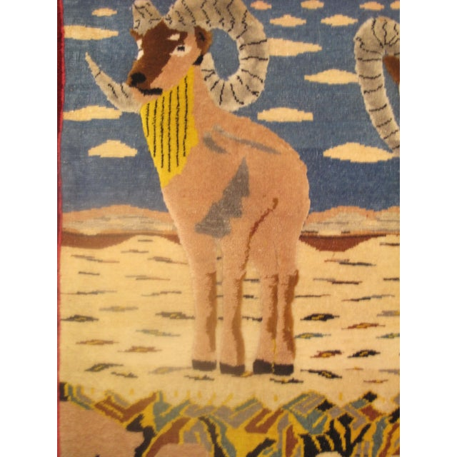Boho Chic Vintage Mid-Century Ram Pictorial Rug - 2′2″ × 2′9″ For Sale - Image 3 of 5