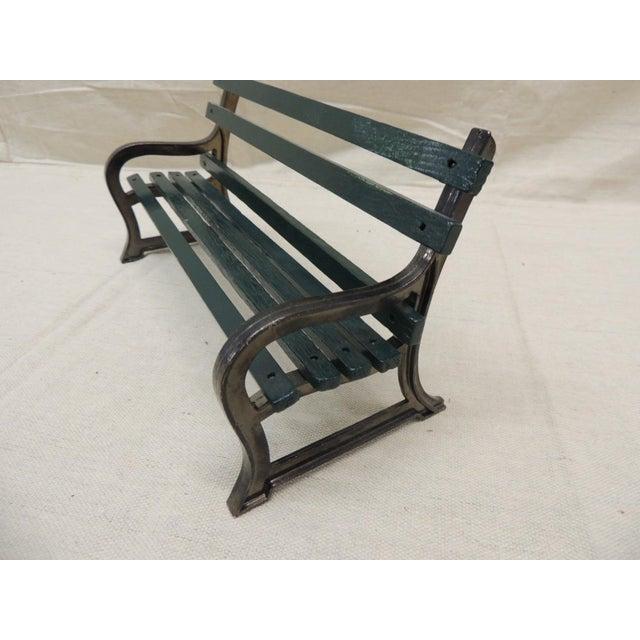 "Vintage Metal and Wood ""Salesman"" Sample of Park Bench For Sale - Image 4 of 5"