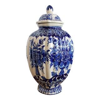 Italian Blue & White Porcelain Ginger Jar For Sale