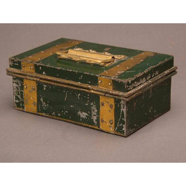 """English Traditional Street Vendor's """"Cash"""" Hinged Metal Box, Painted Finish, England c. 1890 For Sale - Image 3 of 8"""