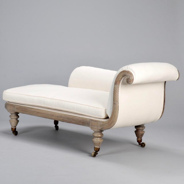 French Chaise Longue with Bleached Wood Frame - Image 5 of 11