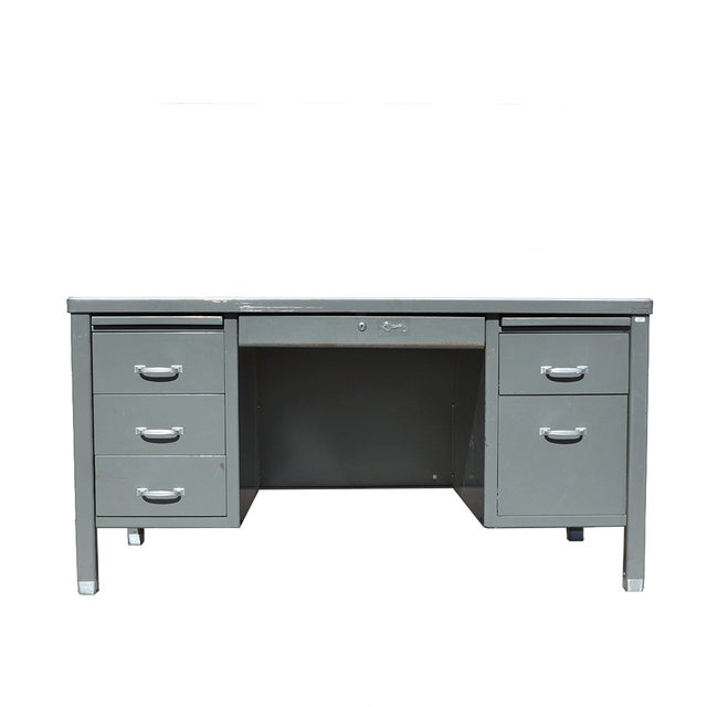 1930's Mid Century Modern Steel Tanker Desk For Sale - Image 13 of 13