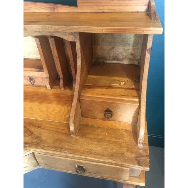 1970s French Country Louie XV Provincial Writing Desk With Hutch For Sale - Image 4 of 13
