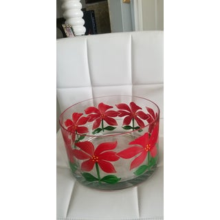 Hand Painted Poinsettia Heavy Crystal Trifle Studio Art Glass Trifle Bowl Preview