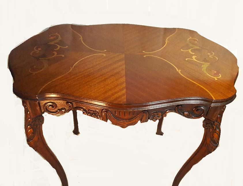 Gorgeous Scroll Inlaid Walnut Table With Fluted Turtle Shape Top. Carved  Apron And Four