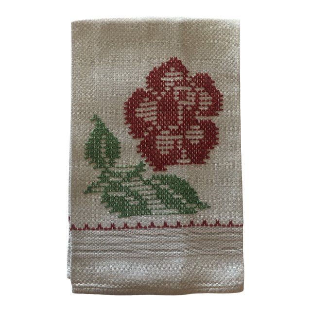 """Vintage Hand Embroidered Red and Green Linen """"Carnation"""" Flower Napkin For Sale"""