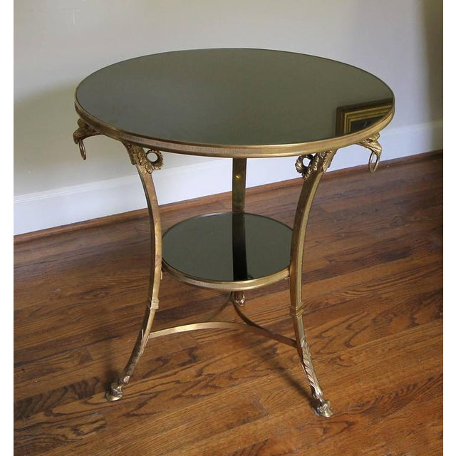 French Gilt Bronze Glass Neoclassical Eagle Gueridon Side Table.