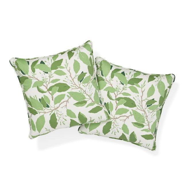 "This 18"" x 18"" pillow features Dogwood Leaf in Ivory. Hand-painted in our studio under the direction of Miles Redd, this..."