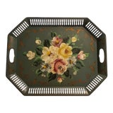 Image of 1950s Vintage Tole Ware Green Hand Painted Flowers Pierced Lattice Edge Tray For Sale