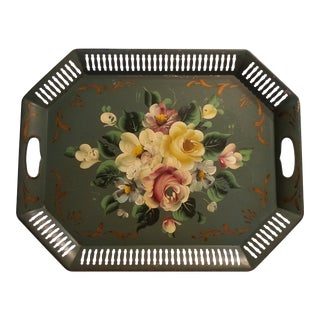 1950s Vintage Tole Ware Green Hand Painted Flowers Pierced Lattice Edge Tray For Sale