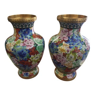 """Chinese Cloisonne Vases a Pair 16"""""""