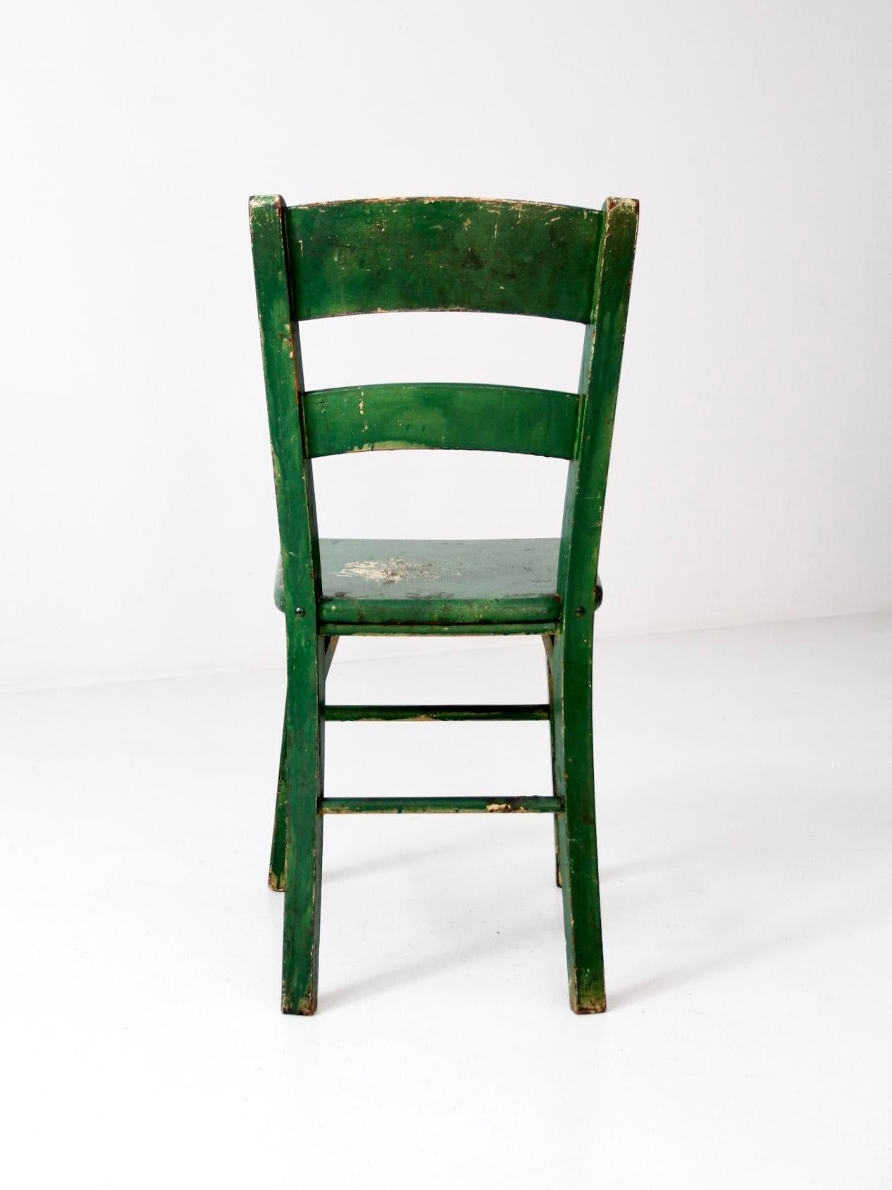 This Is A Vintage Painted Wood Chair Circa Early 20th Century. Original,  Vibrant Green