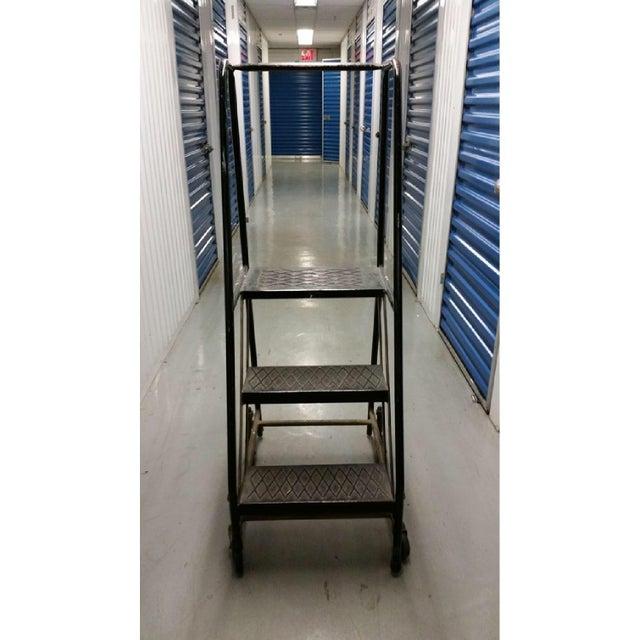 Vintage Industrial Steel Rolling Ladder For Sale - Image 4 of 6
